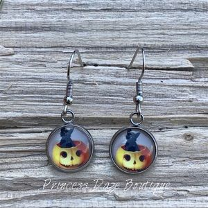 Black Cat Pumpkin Dangle Earrings